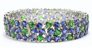 Stunning 18Kt Sapphire, Diamond & Tsavorite Bangle