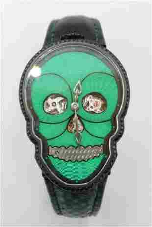 "Fiona Kruger ""Petit Skull"" Green Watch"