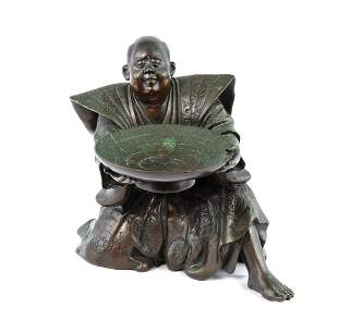 Japanese Bronze Man with Bowl