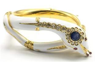 Antique 18Kt Sapphire, Enamel & Diamond Snake