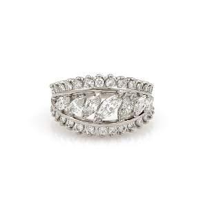 2.85ct Marquise and Round Diamond RIng 14K White Gold