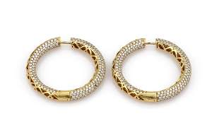15.74ct Pave Diamond In & Out Hoop Earrings 18K YG