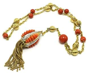 Beautiful 18Kt Coral & Diamond Tassel Drop Necklace