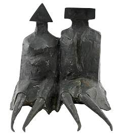 Lynn Chadwick Sitting Couple in Robes III Bronze