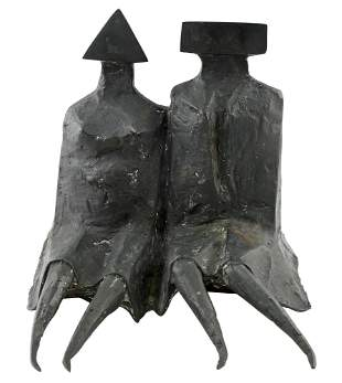 Lynn Chadwick Sitting Couple in Robes III Bronze