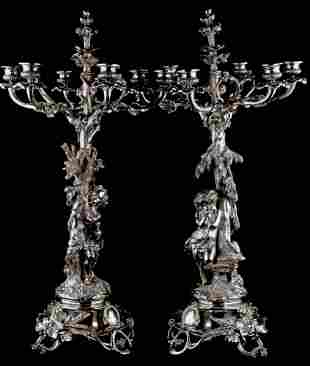 Pair of Christofle French Silver Plated Candleabras