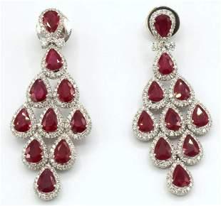 18Kt 13.00ct. Ruby & 7.00ct. Diamond Earrings