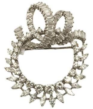 Art Deco Platinum 6.00ct. Diamond Brooch