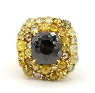 Luca 18Kt Black & Fancy Yellow Diamond Ring