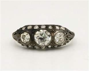 Antique 1.50ct Diamond Silver Ring