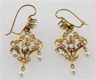 14Kt Pearl & Diamond Drop Earrings