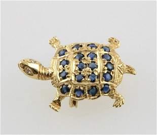14Kt Sapphire & Diamond Turtle Brooch