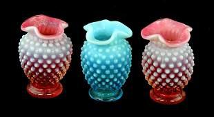 Vintage Depression Glass Fenton Small Hobnail Vases