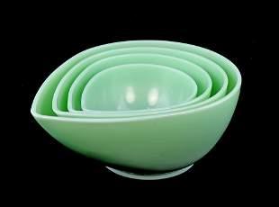 Vintage Swedish Modern Fire-King Jadeite Bowl Set