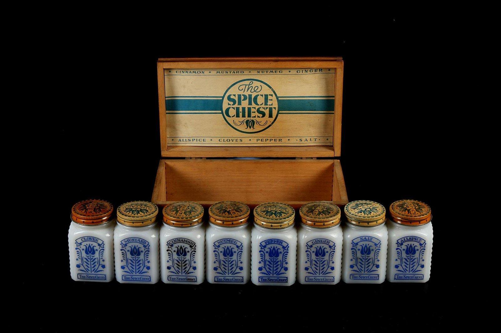 Vintage Depression Glass Spice Chest