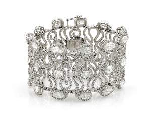 One of a Kind White Gold 40.28CT Diamond Bracelet