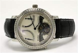 "Maurice Lacroix ""Masterpiece"" Platinum & Leather Watch"