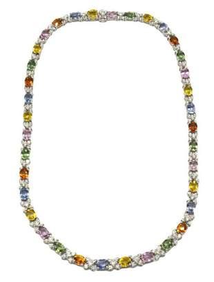 Fabulous 18Kt Mult-Colored Sapphire & Diamond Necklace