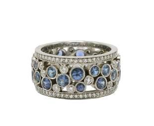 Tiffany & Co. Platinum Sapphire & Diamond Band