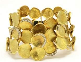 18Kt 3-Row Diamond Hammered Links Bracelet