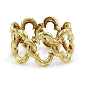 Van Cleef Arpels 18K YG Diamond Clover Bracelet