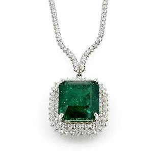 32.50ct Emerald and Pave Diamond Necklace 18K WG