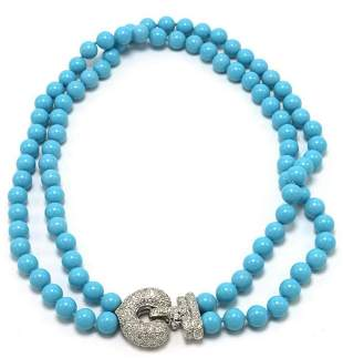 Fabulous 18Kt Beaded Turquoise & Diamond Necklace