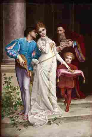 19th Century Porceleian Palque Signed J. Pascault