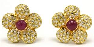 18Kt Cabochon Ruby & Diamond Flower Earrings
