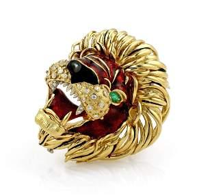 Frascarolo Diamond and Enamel Lions Head Brooch