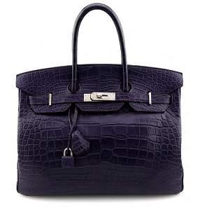 Hermes Birkin 35 Crocodile Amethyst Bag
