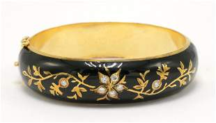 Vintage 14Kt Enamel & Diamond Bangle