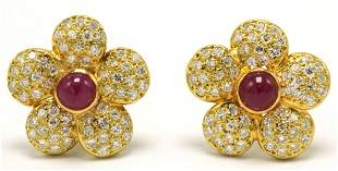 18Kt Cabochon Ruby & Diamond Flower Earrings