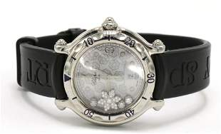 "Stainless Chopard ""Happy Sport Snowflake"" Diamond Watch"