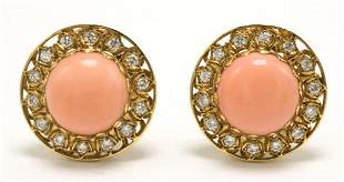 Laura Munder 18Kt Coral & Diamond Earrings