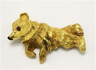 Vintage 18Kt Ruby Bear Pin