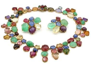 Seaman Schepps Multi Color Gemstone Neck & Earring Set