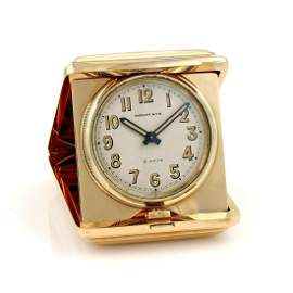 Rare C.1950 Tiffany Co 14K YG 8 Day Travel Clock