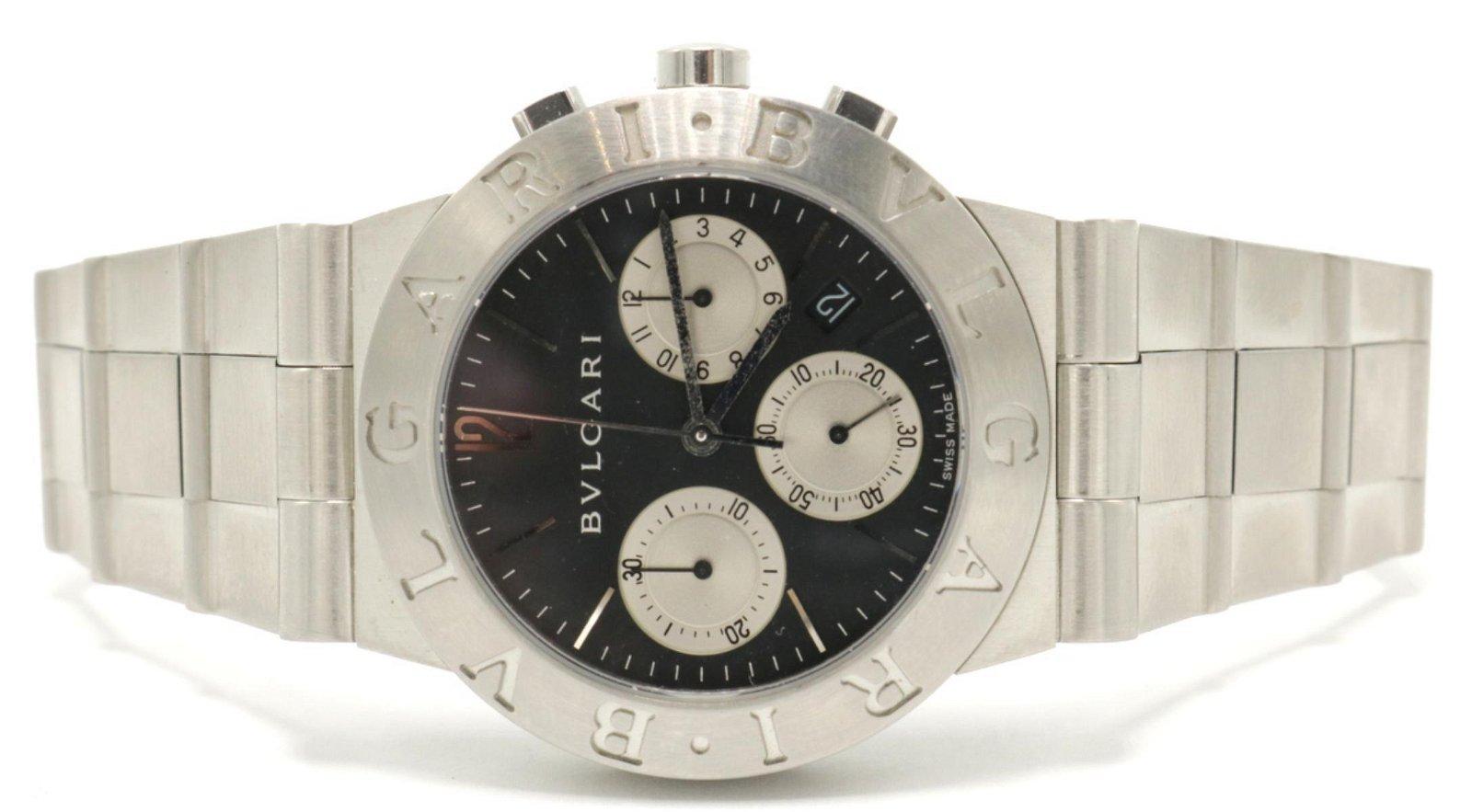 "Bvlgari ""Scuba"" Stainless Steel Watch"