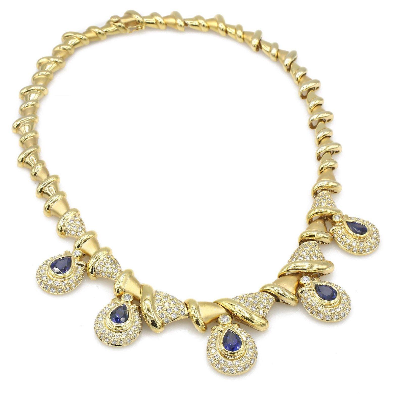 18K YG Pave Diamond and Sapphire Teardrop Necklace