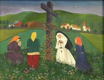 Lawrence Lebduska (American, 1894-1966) Oil on Canvas