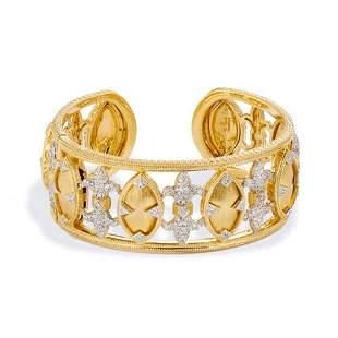 Jude Frances 18K YG Marquis Fleur Diamond Cuff