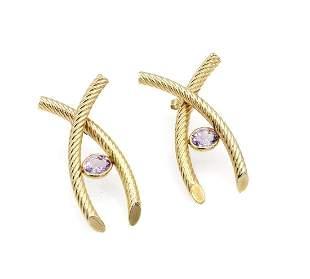 14K Yellow Gold Pink Topaz X Earrings