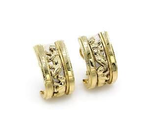 14K 2 Tone Gold Panther Huggie Earrings