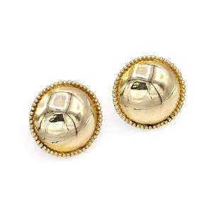 14K Yellow Gold Domed Button Earrings