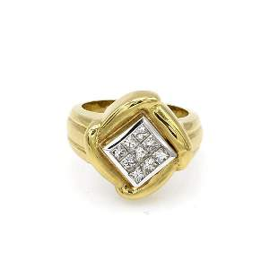 14K Yellow Gold Fancy Invisible Set Diamond Ring
