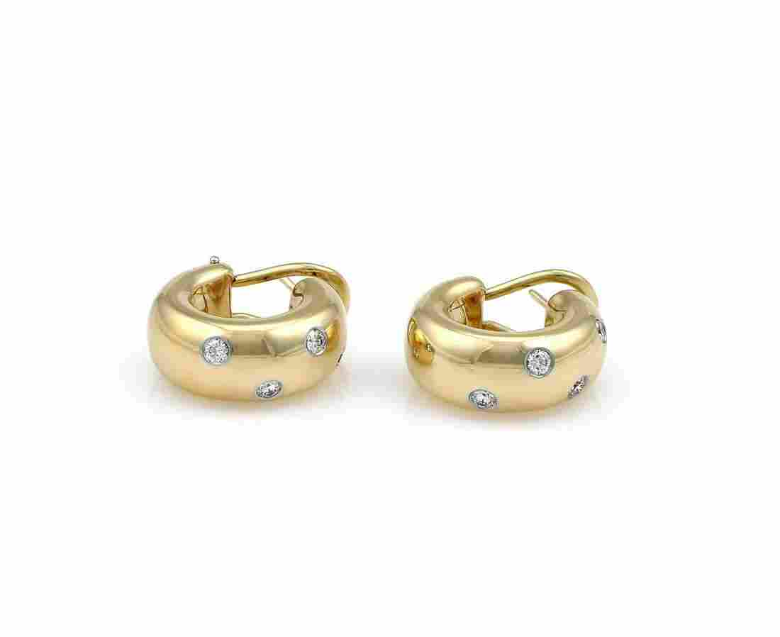 18K Yellow Gold Tiffany & Co Etoile Diamond Huggies