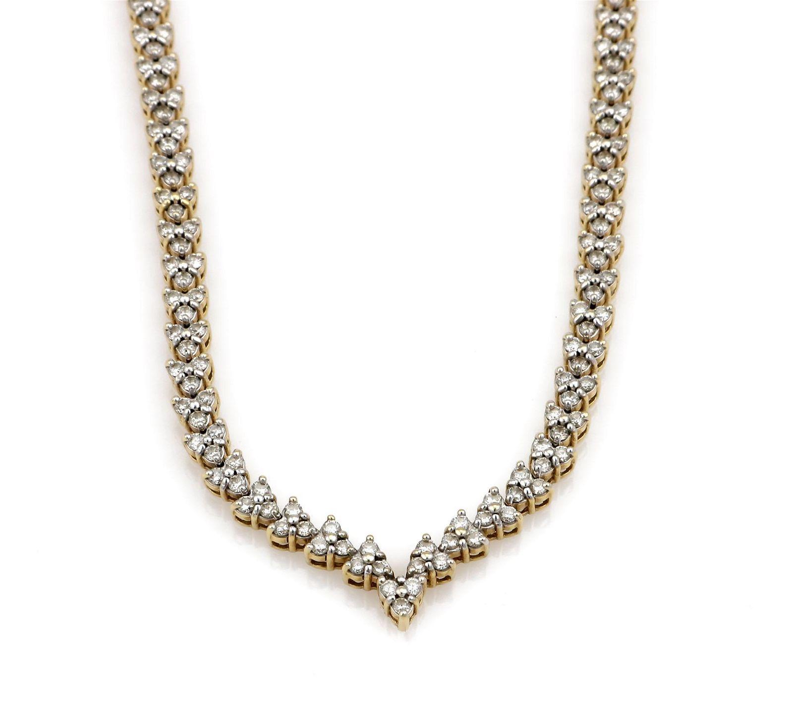 14K Yellow Gold 7.29ct Diamond Heart Necklace
