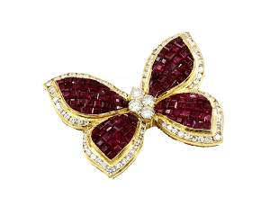 18K Yellow Gold Ruby and Diamond Butterfly Brooch