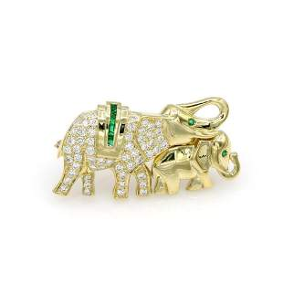 18K Yellow Gold Diamond & Emerald Elephant Brooch / Pin
